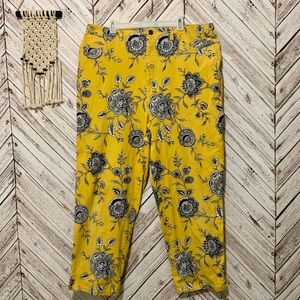 Plus size Talbots cropped pants in yellow floral